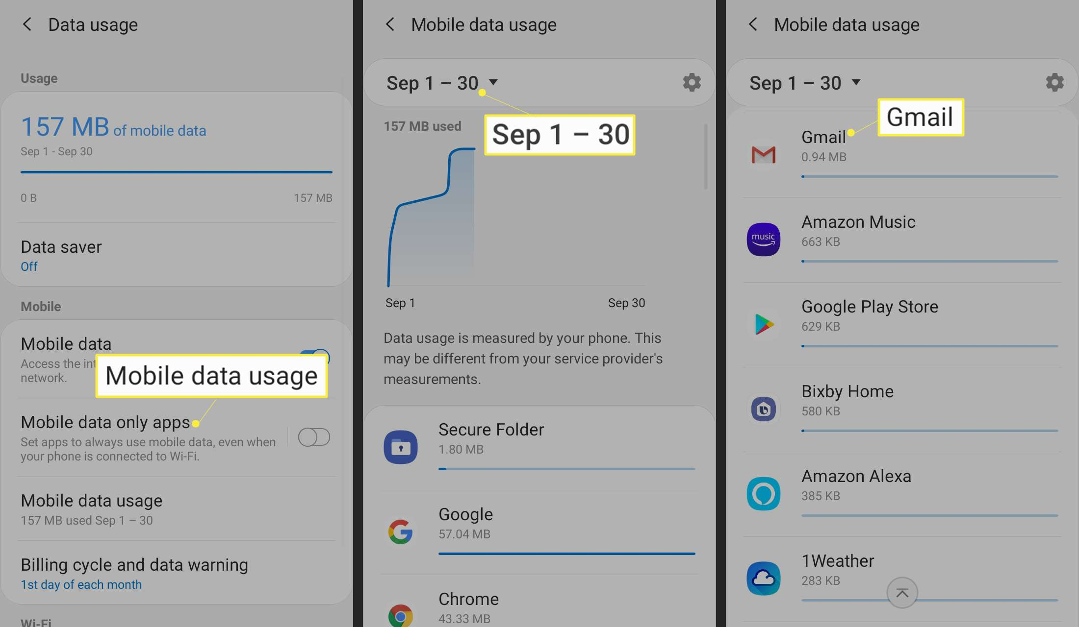 Tap Mobile data usage, tap the date, and tap any app to see how much data it uses.