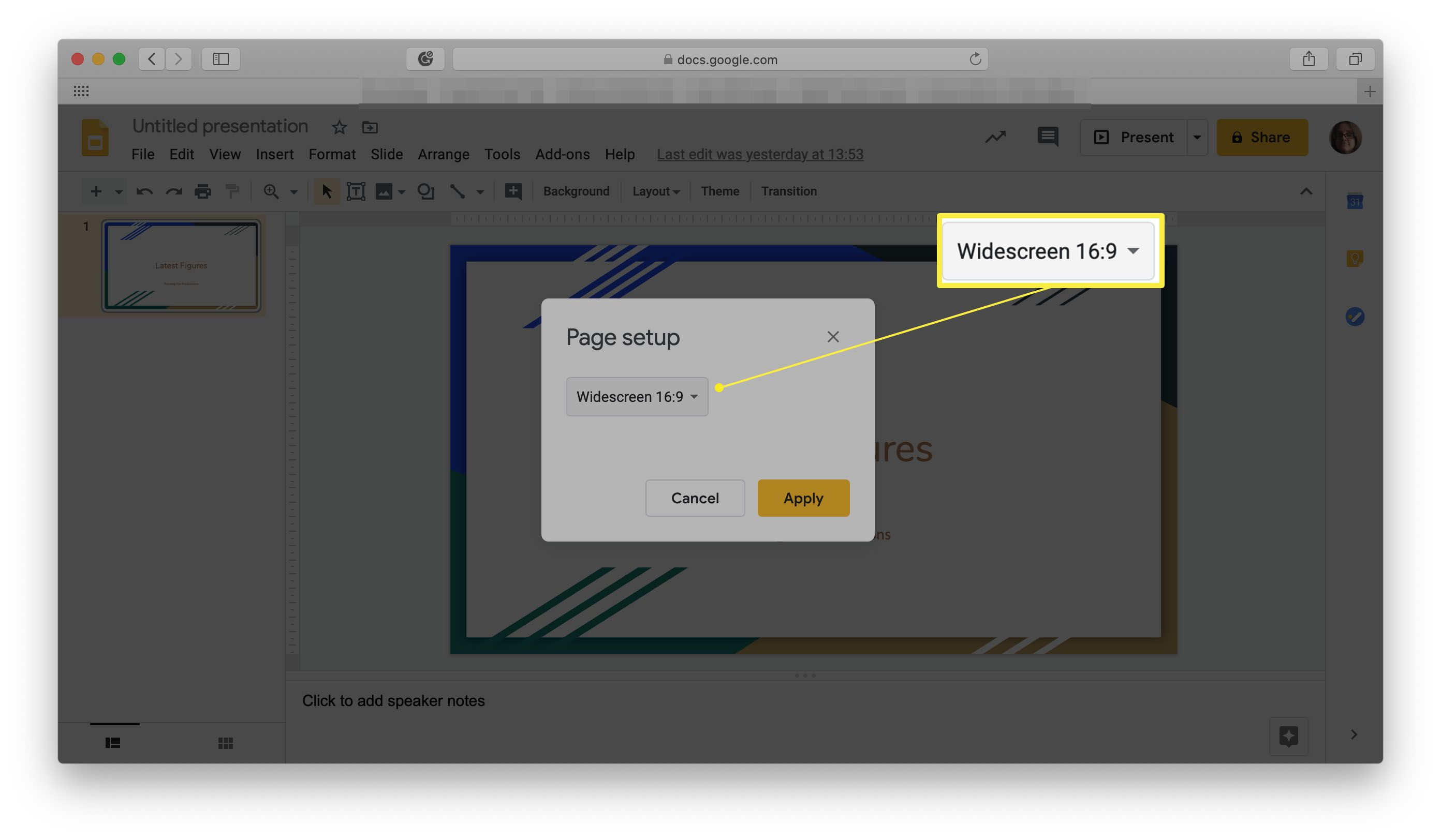 Google Slides with Page setup choices highlighted