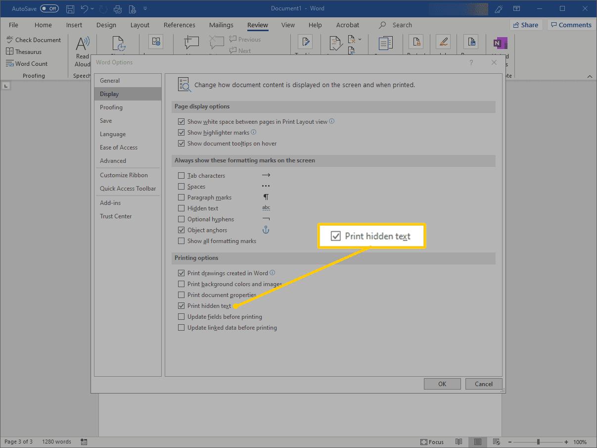 Print hidden text option in Word