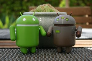 Android toys in a garden