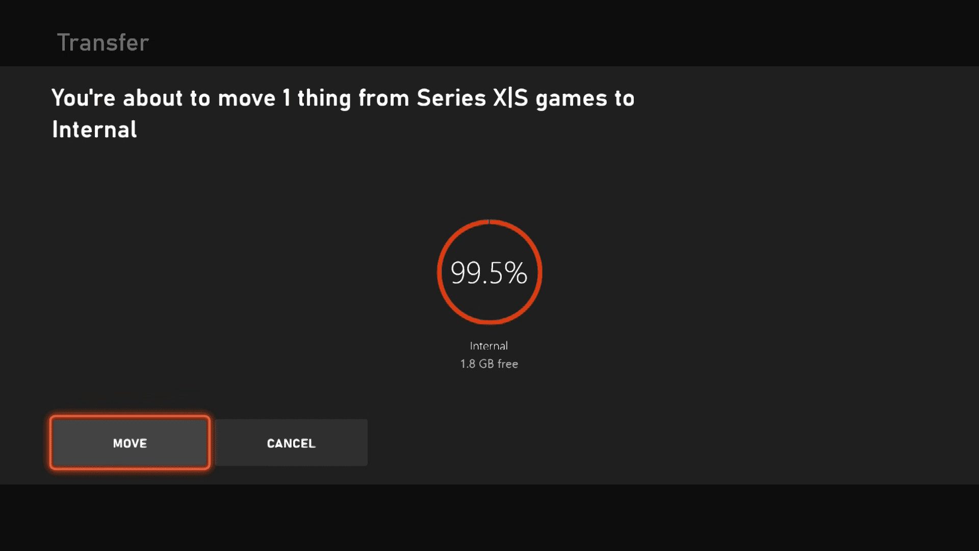 Moving games on Xbox Series X|S.