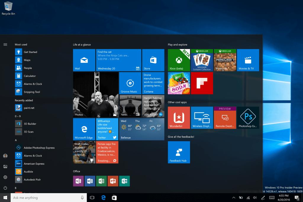 Windows 10 welcome screen.