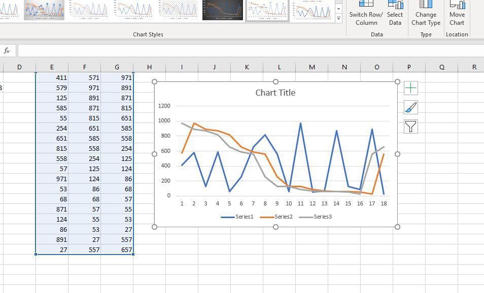 Line graph in Excel
