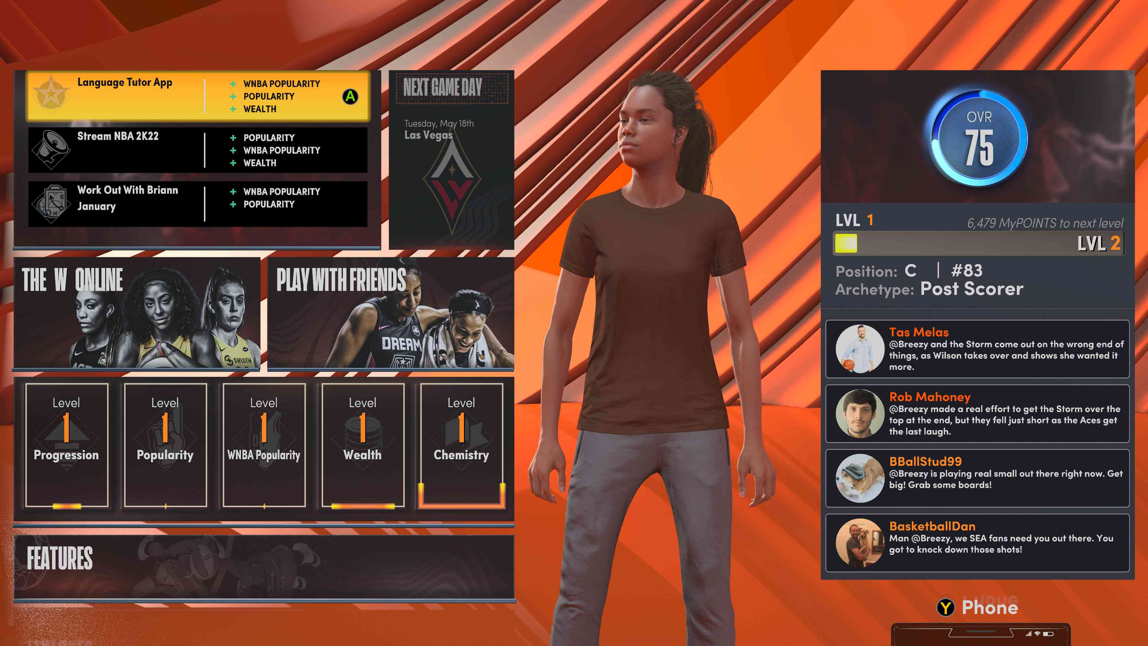 WNBA character stats screen in NBA 2K22