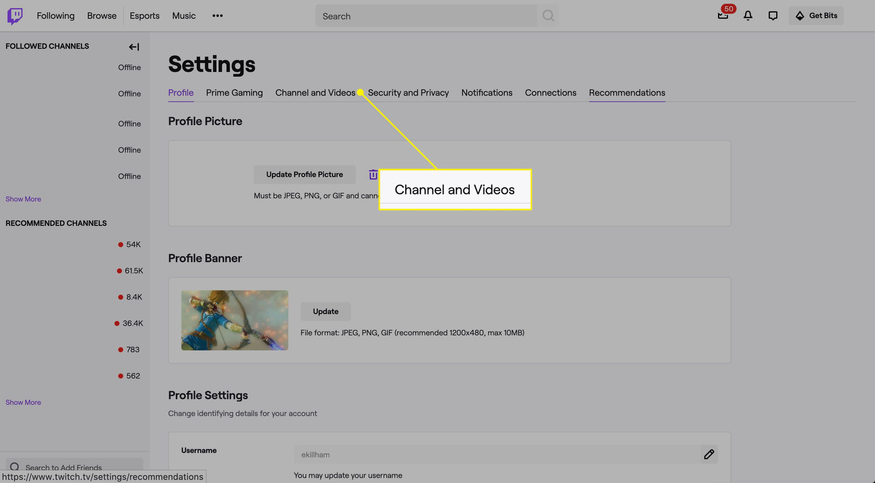Channel and Videos in Twitch settings
