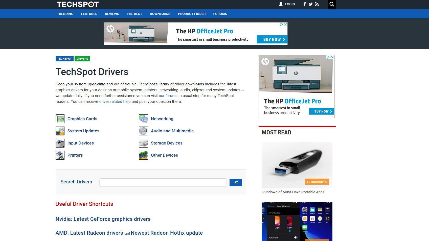 Screenshot of TechSpot