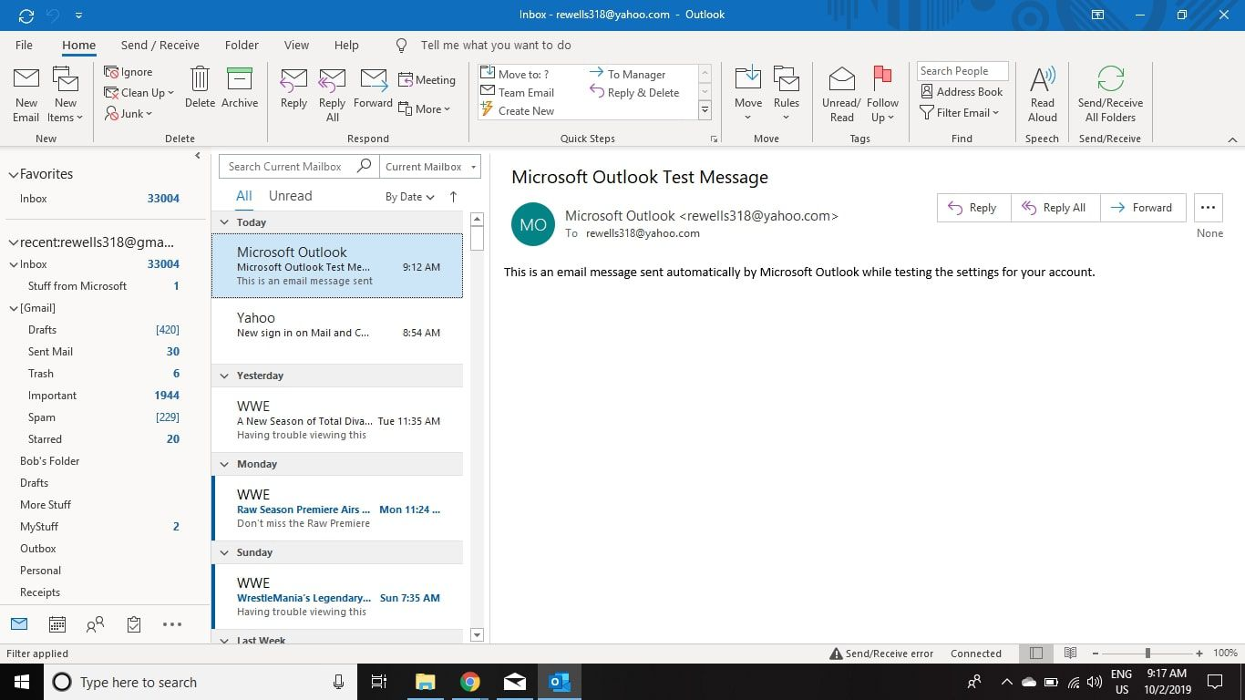 Open the email account that has the emails you want to migrate to Gmail in Outlook.