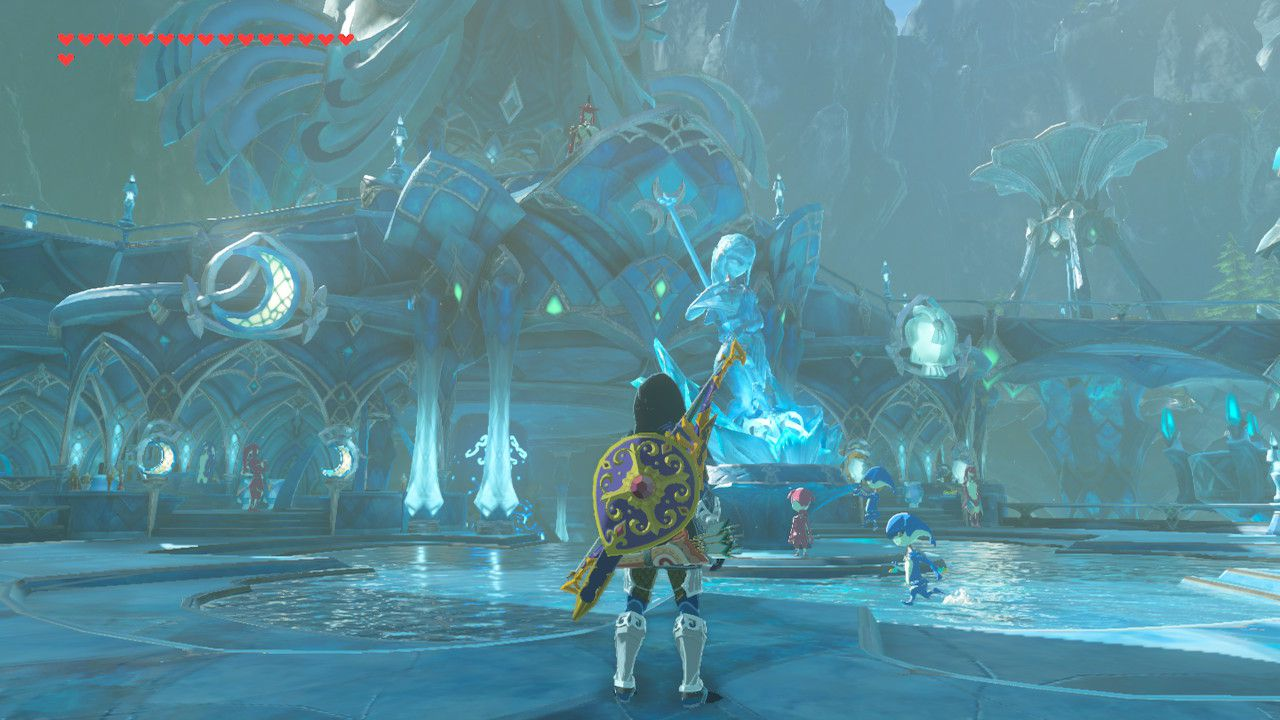 Finding Mipha's Touch memory in The Legend of Zelda: Breath of the Wild.