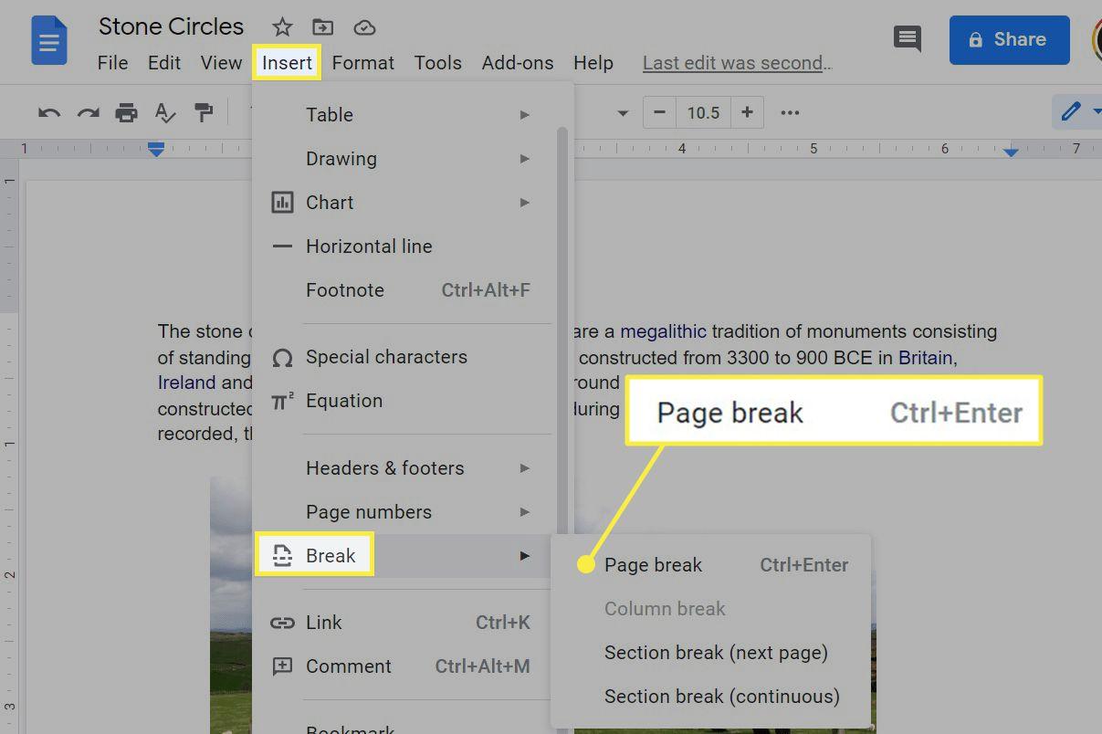 Google Docs insert page break option.