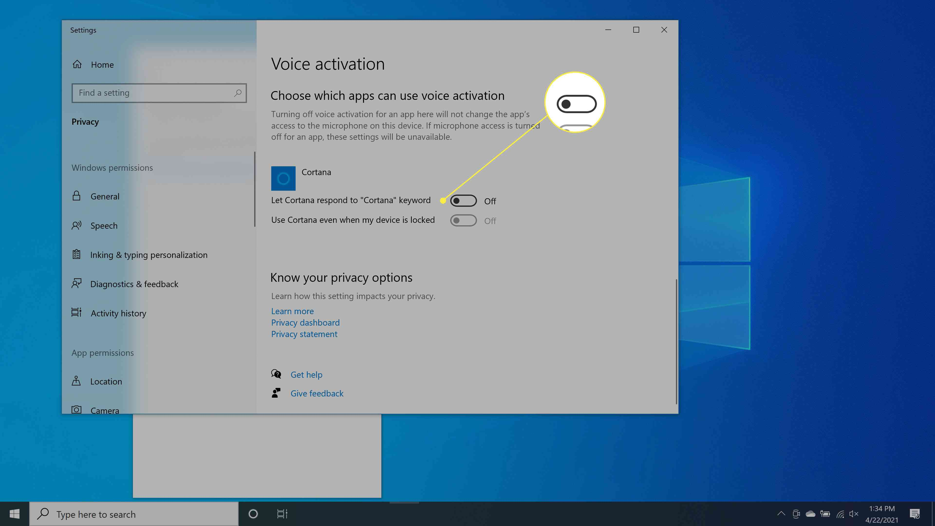 Turning off voice activation for Cortana.