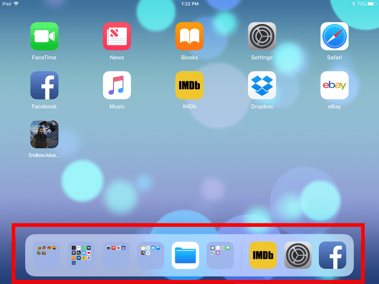 One way to organize your iPad it to place a series of folders on the dock.