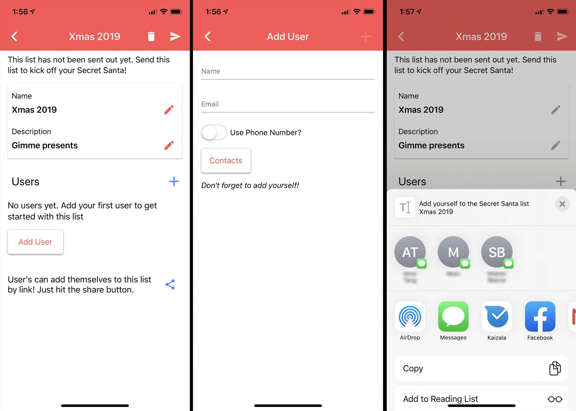 Simple Secret Santa Generator app on iPhone
