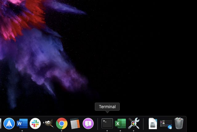 Terminal located on MacOS Dock