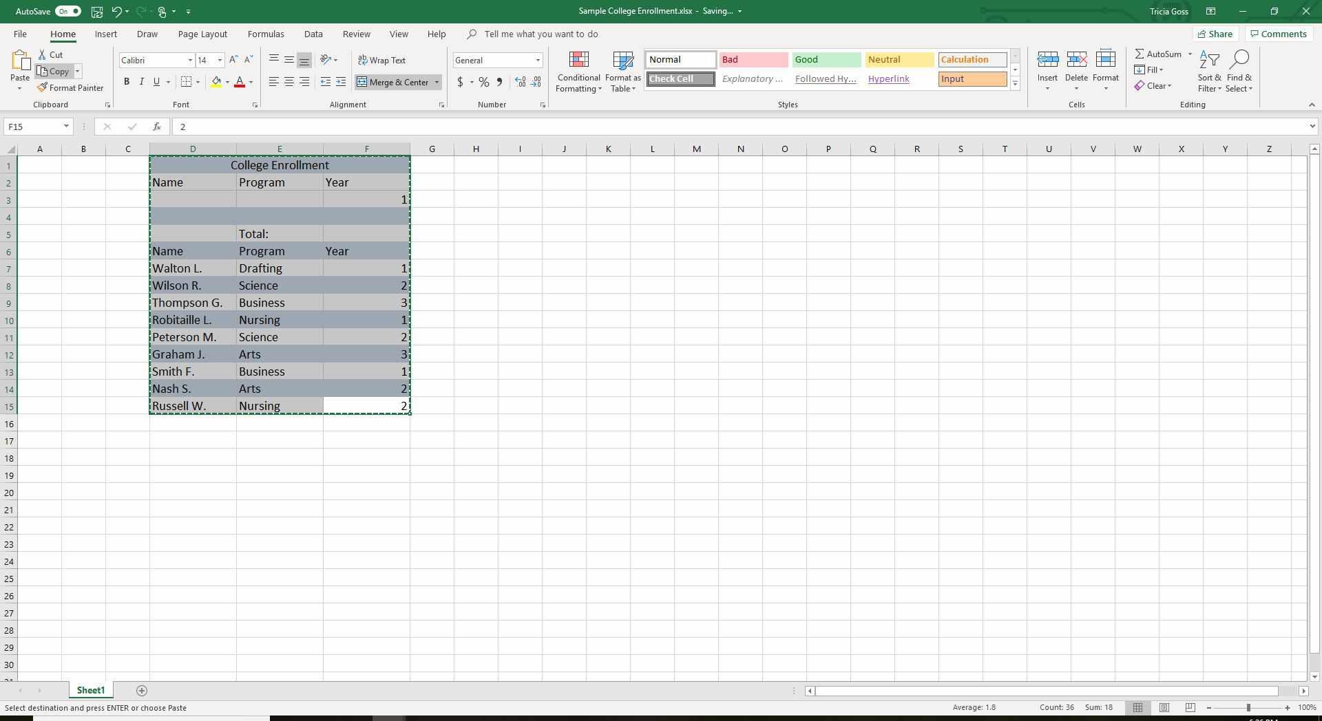 Screenshot of selected data in Excel