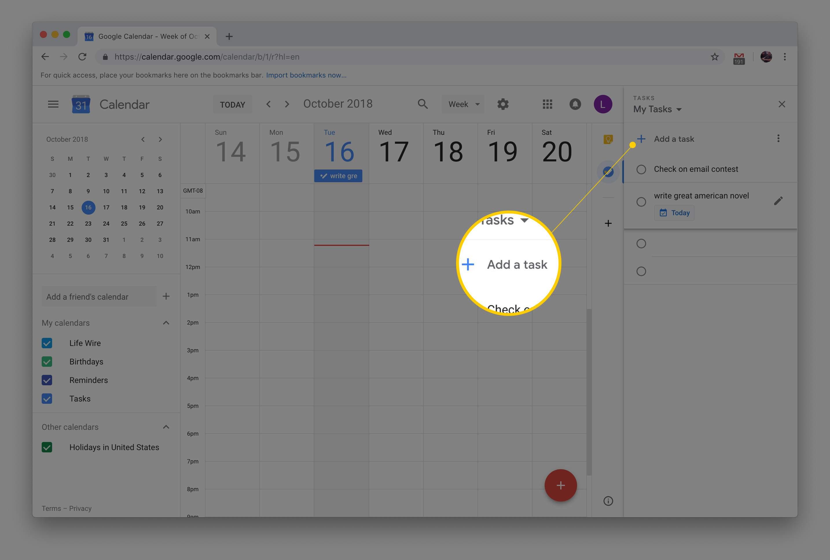 Add a task button in Google Calendar via macOS version of Chrome