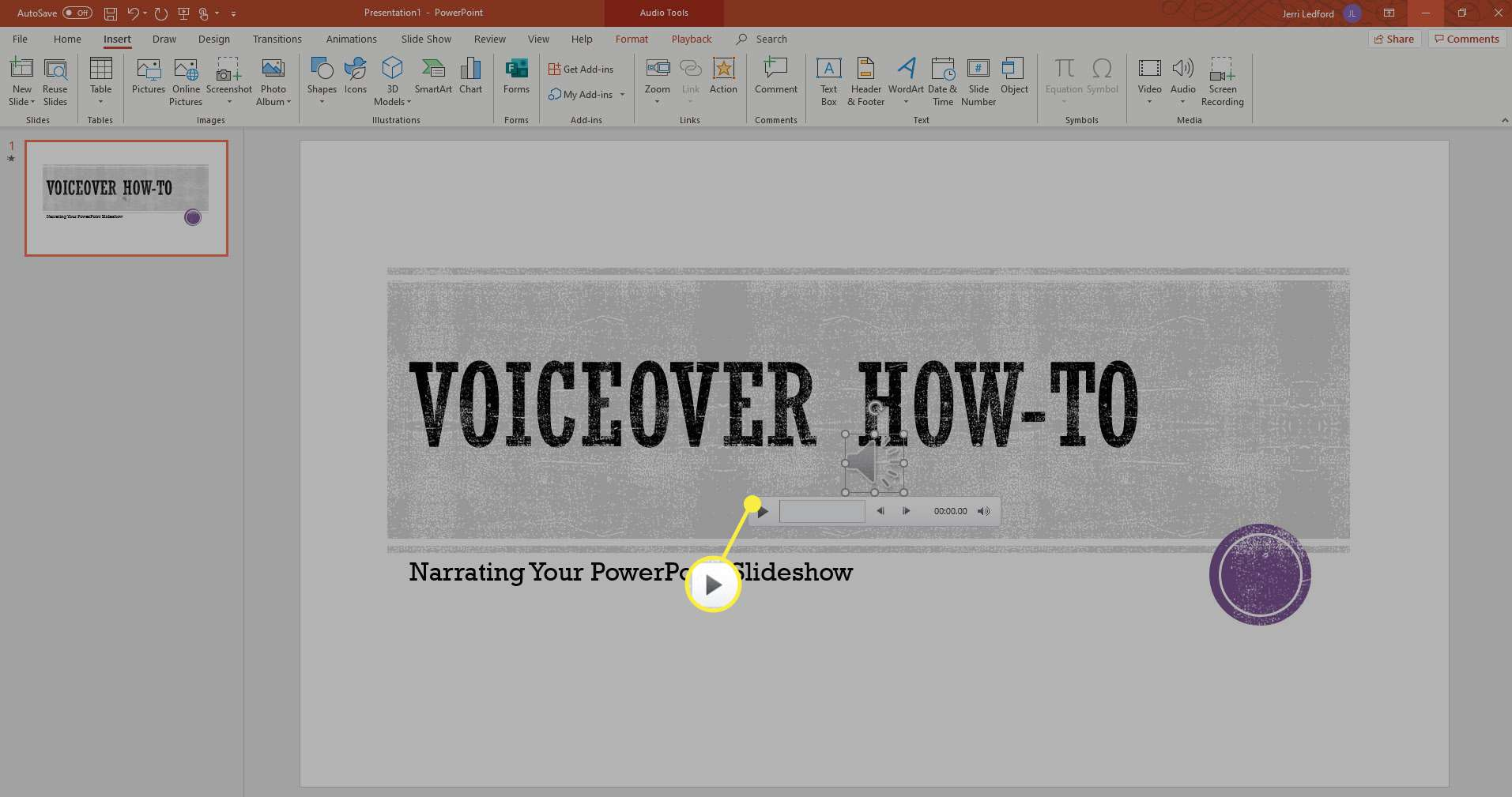 The Play option to preview PowerPoint narration.