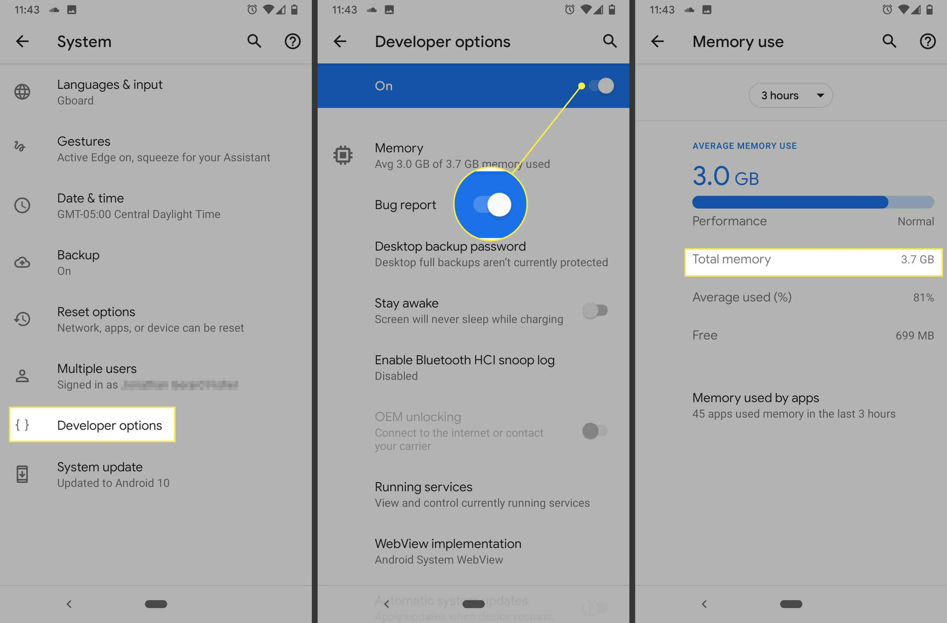 Android system, developer options, memory use screens.