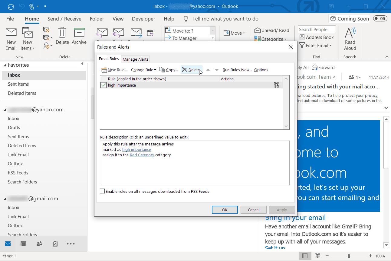 Screenshot of managing rules in Outlook desktop