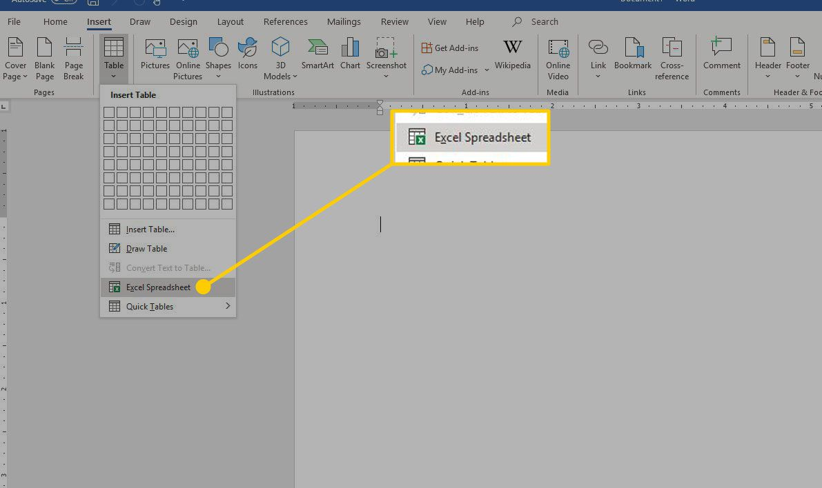 Insert Table menu in Word with the Excel Spreadsheet option highlighted
