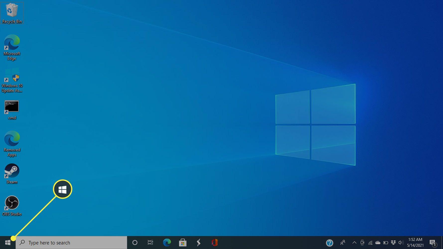 The Start menu in Windows 10