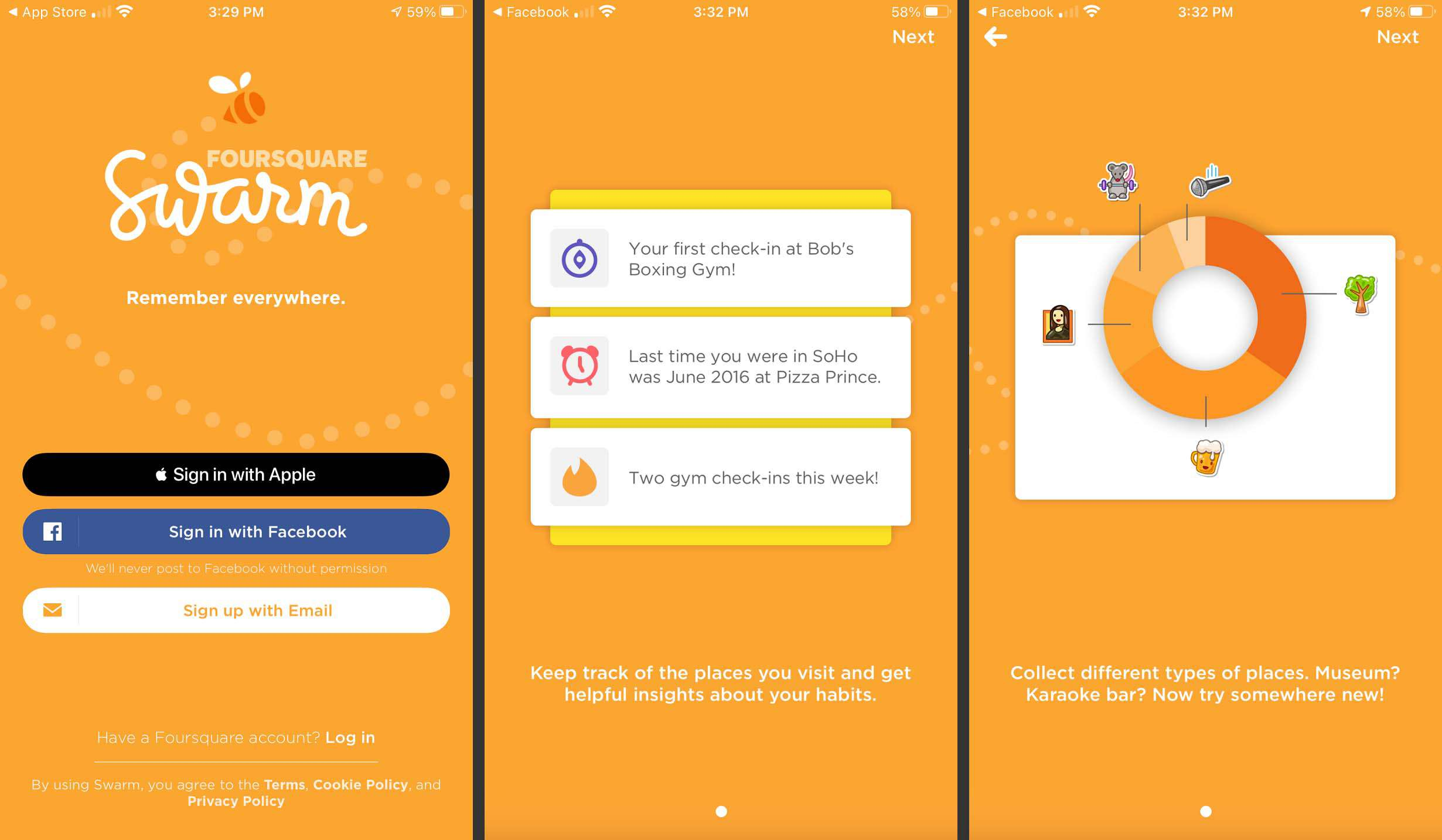 Signing up on Foursquare Swarm.
