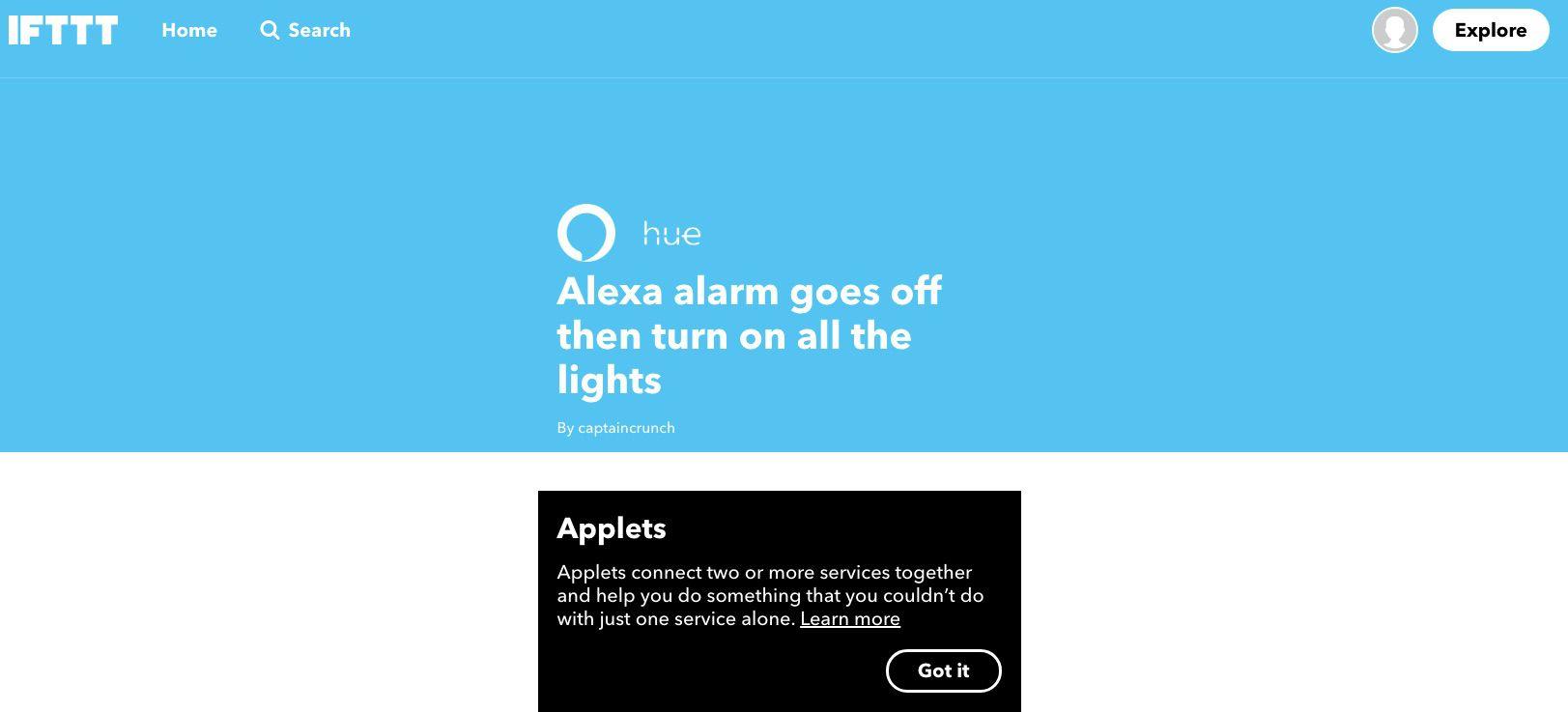 Screenshot of the IFTTT app for Alexa