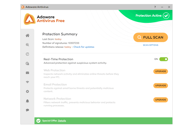 Screenshot of Adaware Antivirus Free