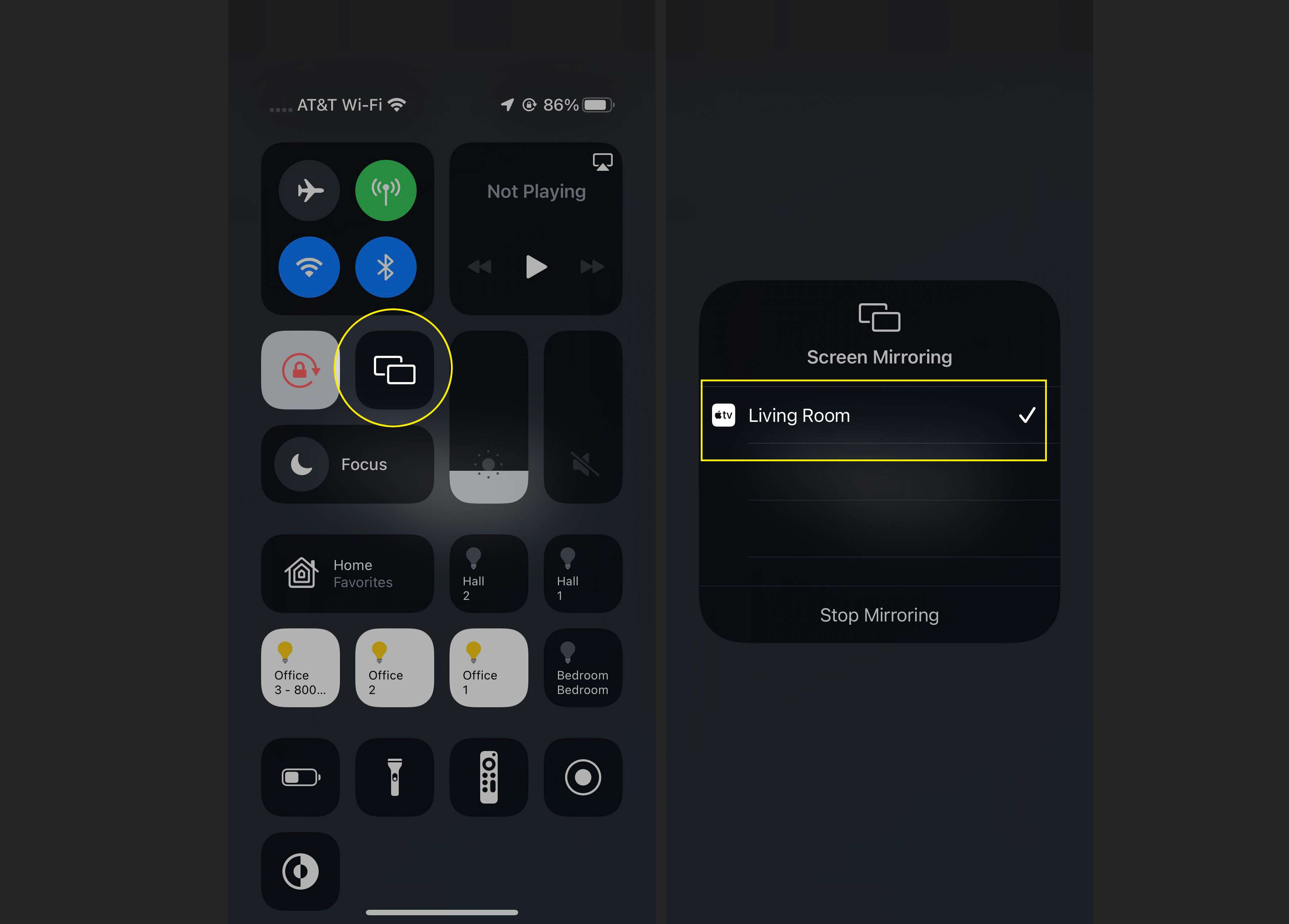 Screen Mirroring window in Control Center showing an Apple TV selected
