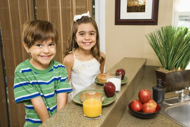 Children with food
