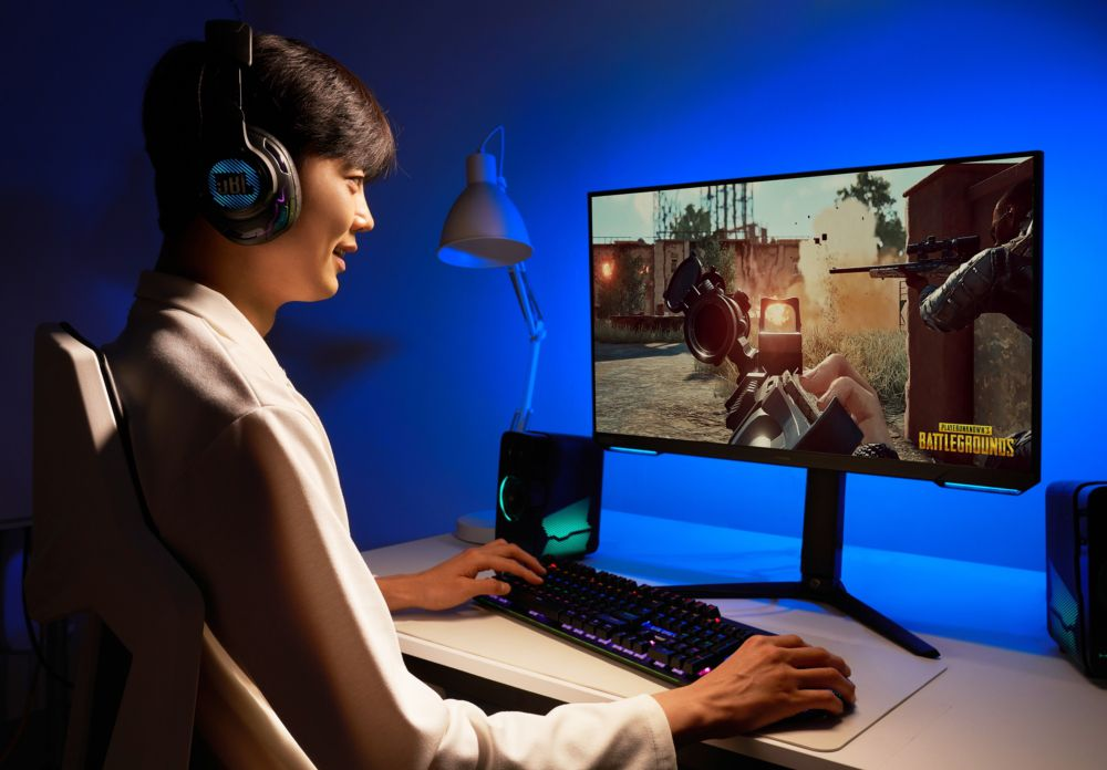 Person playing a game on Odyssey gaming monitor