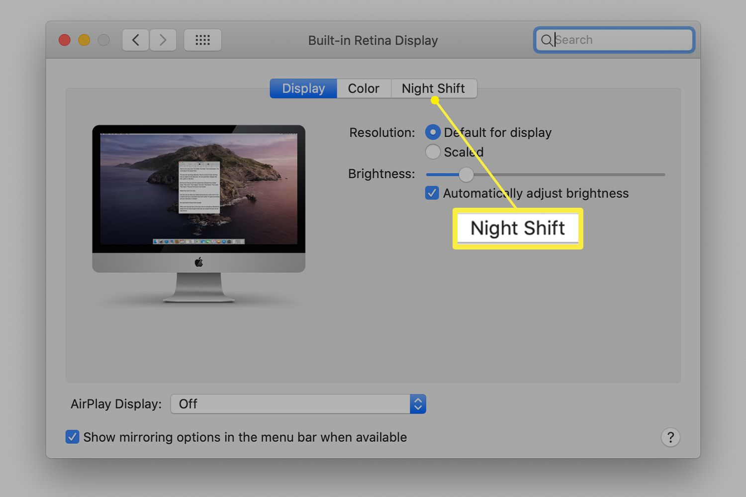 Displays system preferences showing Night Shift tab