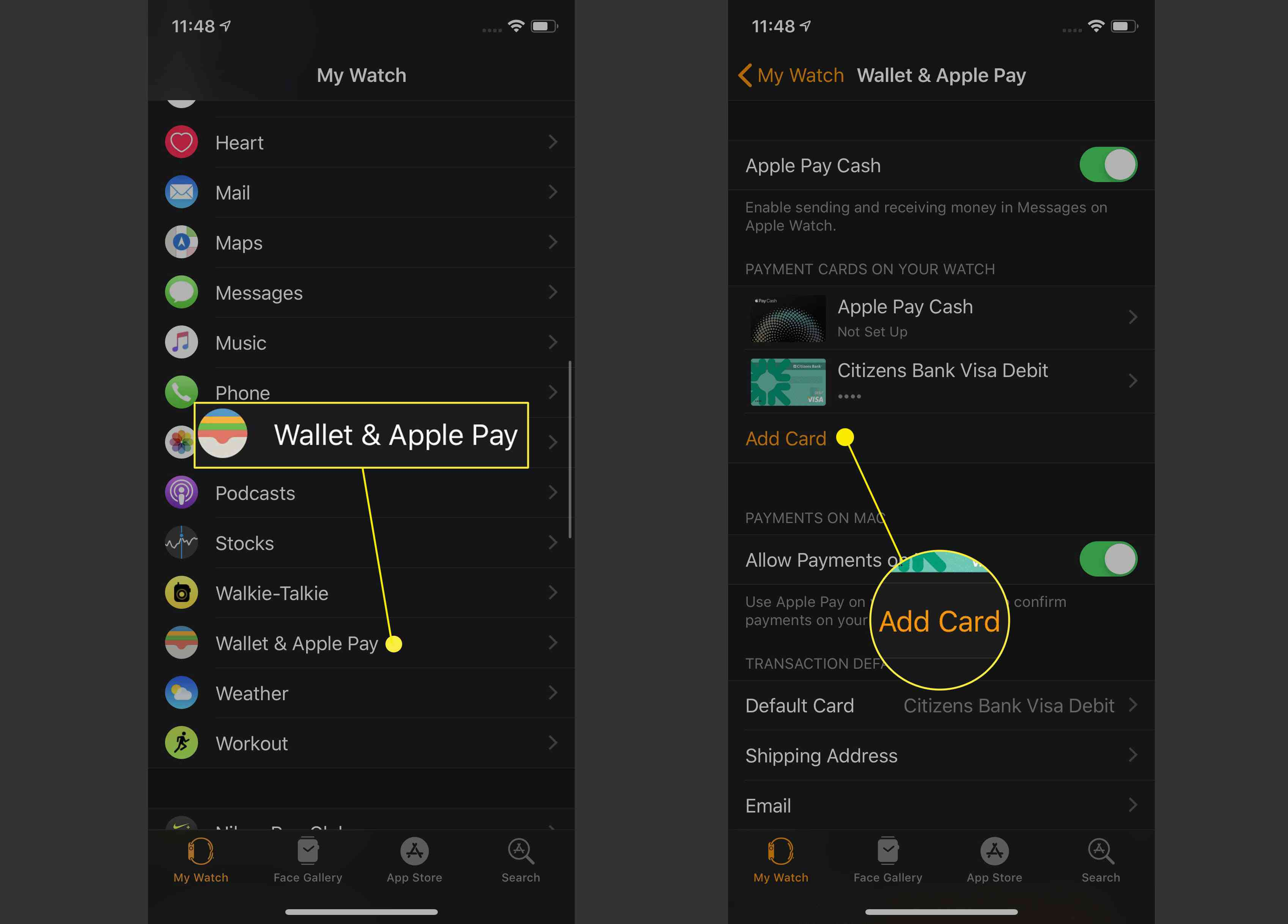 Adding a card in Wallet & Apply Pay.
