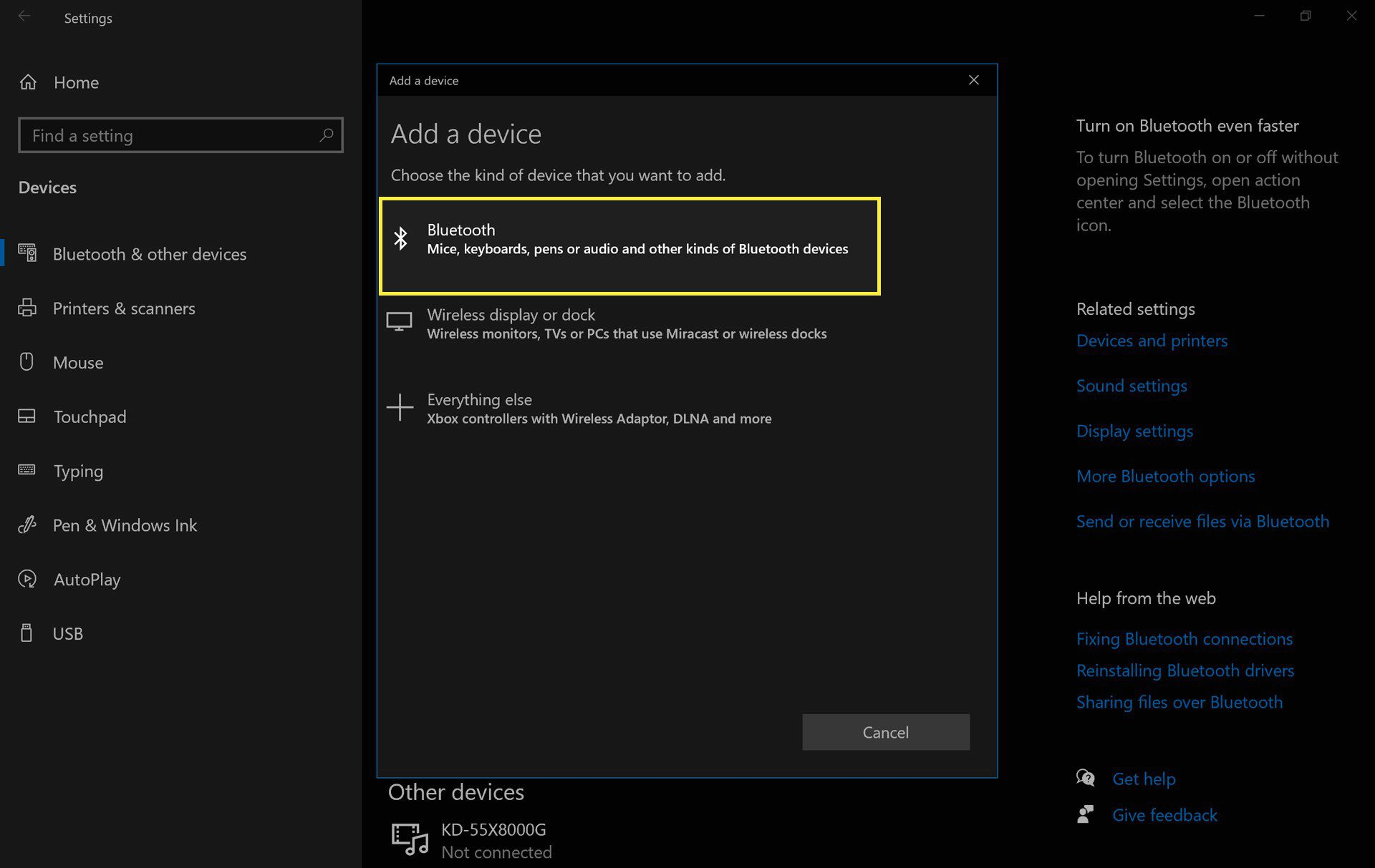 Bluetooth device settings in Windows 10 with Bluetooth highlighted