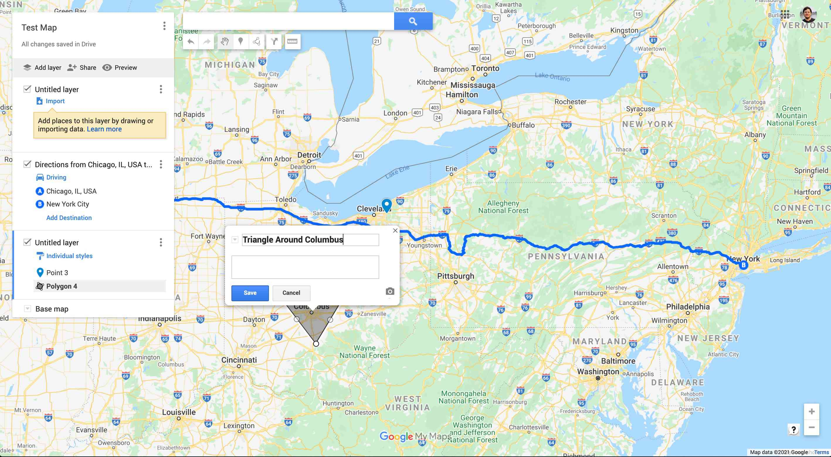 Saving a line/shape in Google My Maps.