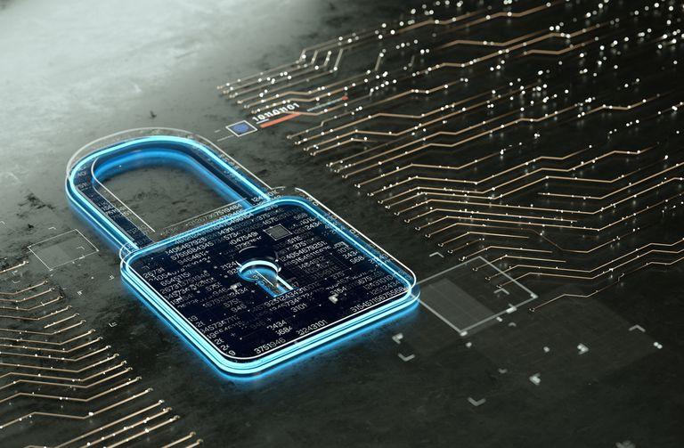 Digital lock on computer motherboard illustration representing digital secutity
