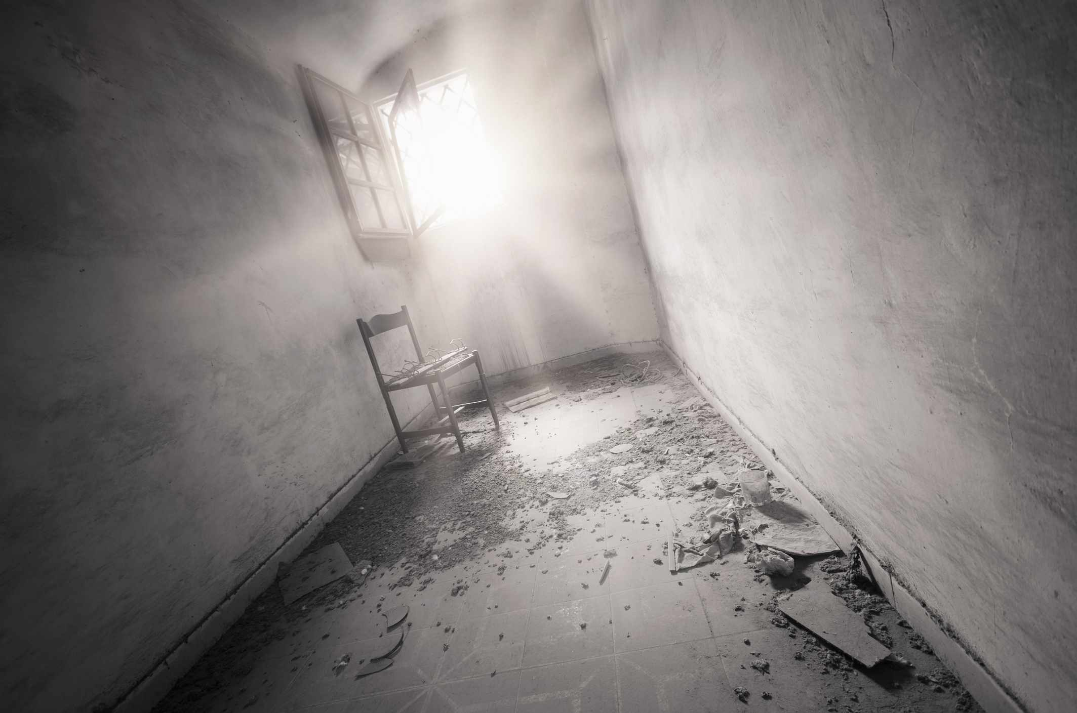 Old ruined abandonated prison cells interior