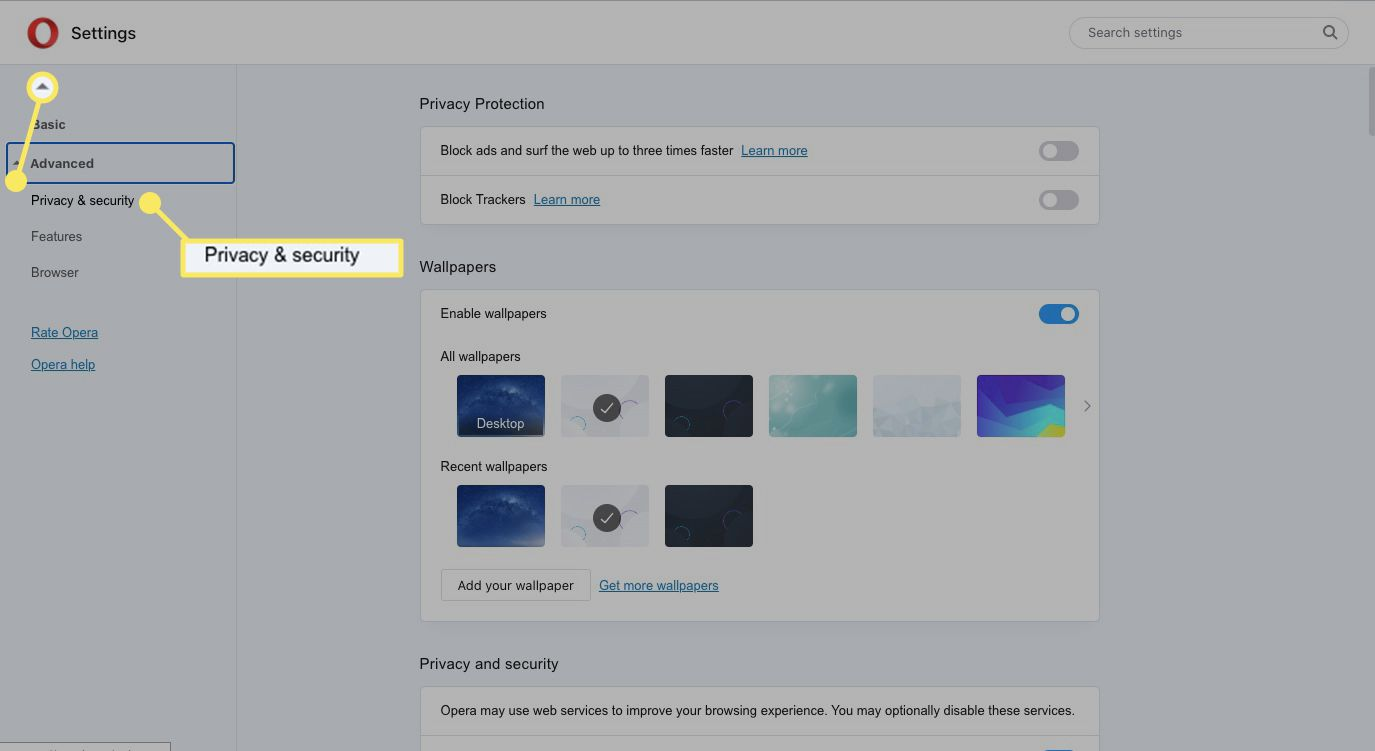 Select the arrow next to Advanced, and then select Privacy & Security from the drop-down menu.