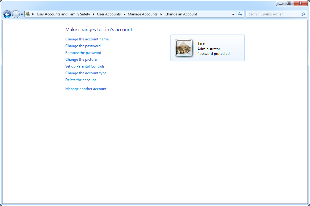 Windows 7 Change an Account screen
