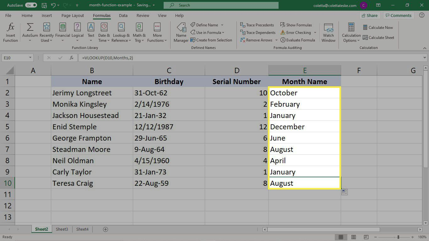 The results of the VLOOKUP formula with the converted serial numbers