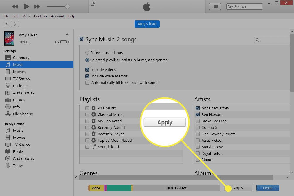 iTunes with the Apply button highlighted