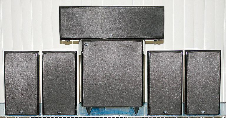 EMP Tek Impression Series 5.1 Channel Bookshelf Home Theater Package - Front View - Grill On