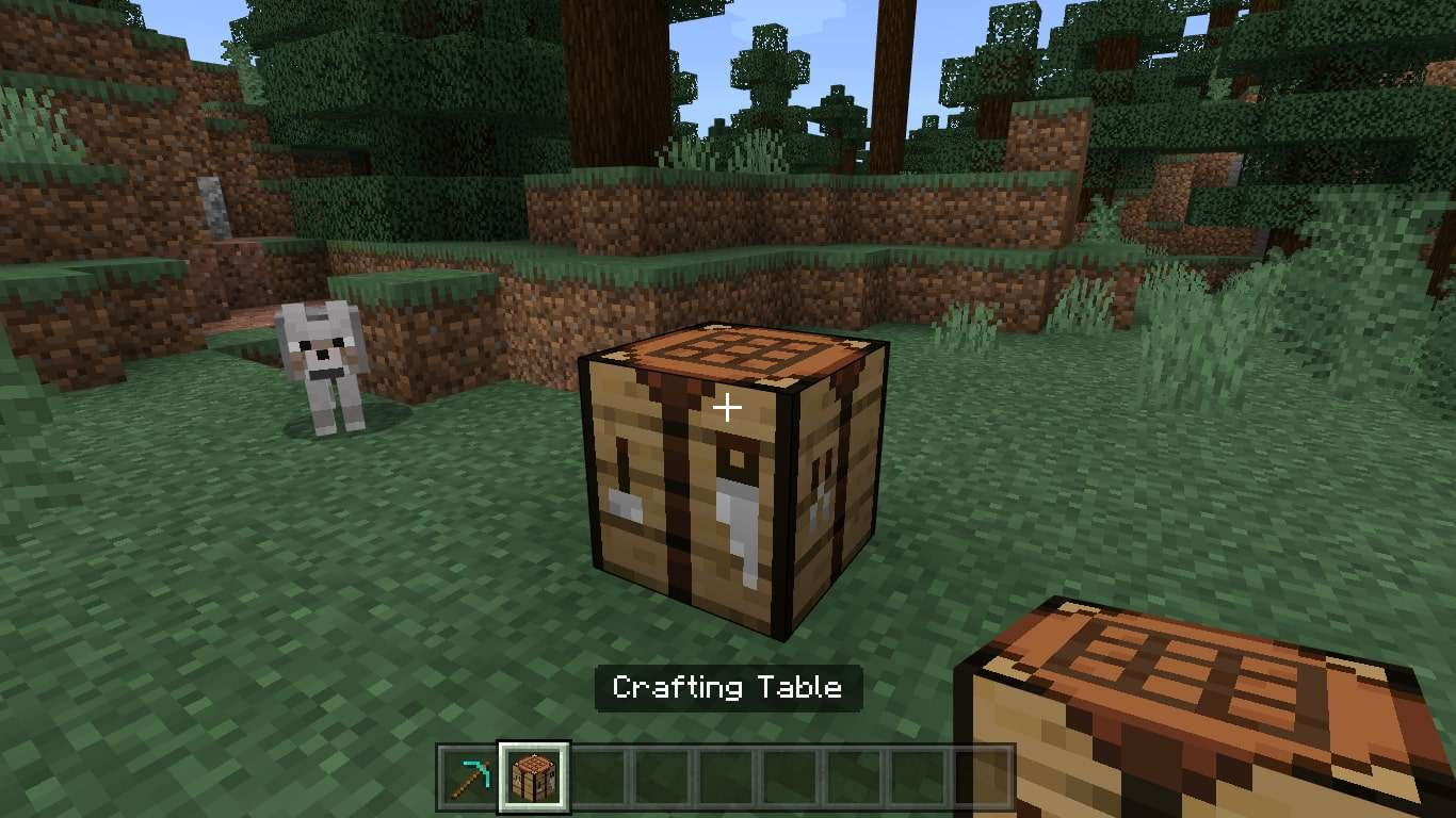 A Crafting Table in the ground on Minecraft