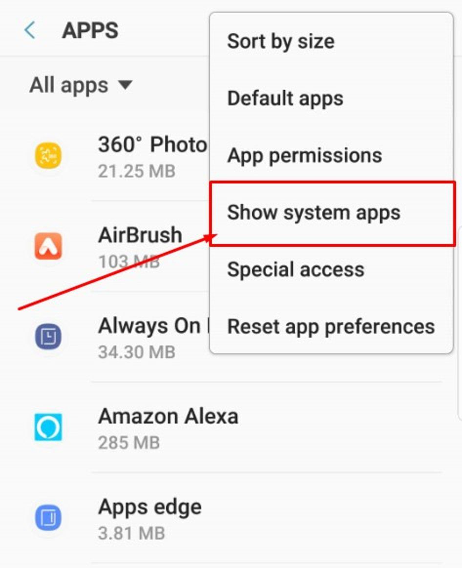 Show system apps option in apps menu