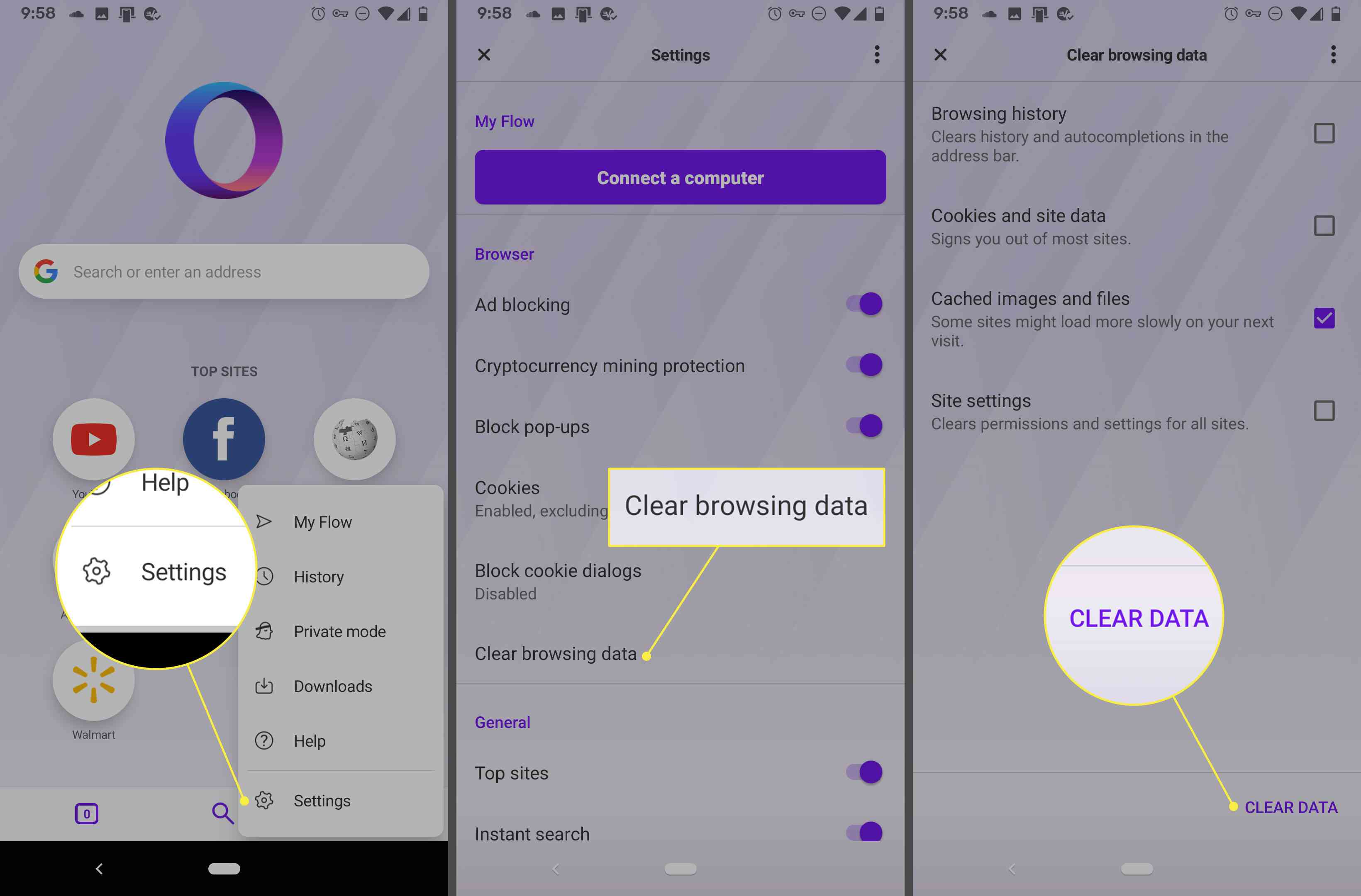 Screenshots of Opera on an Android phone showing how to delete the browsing data
