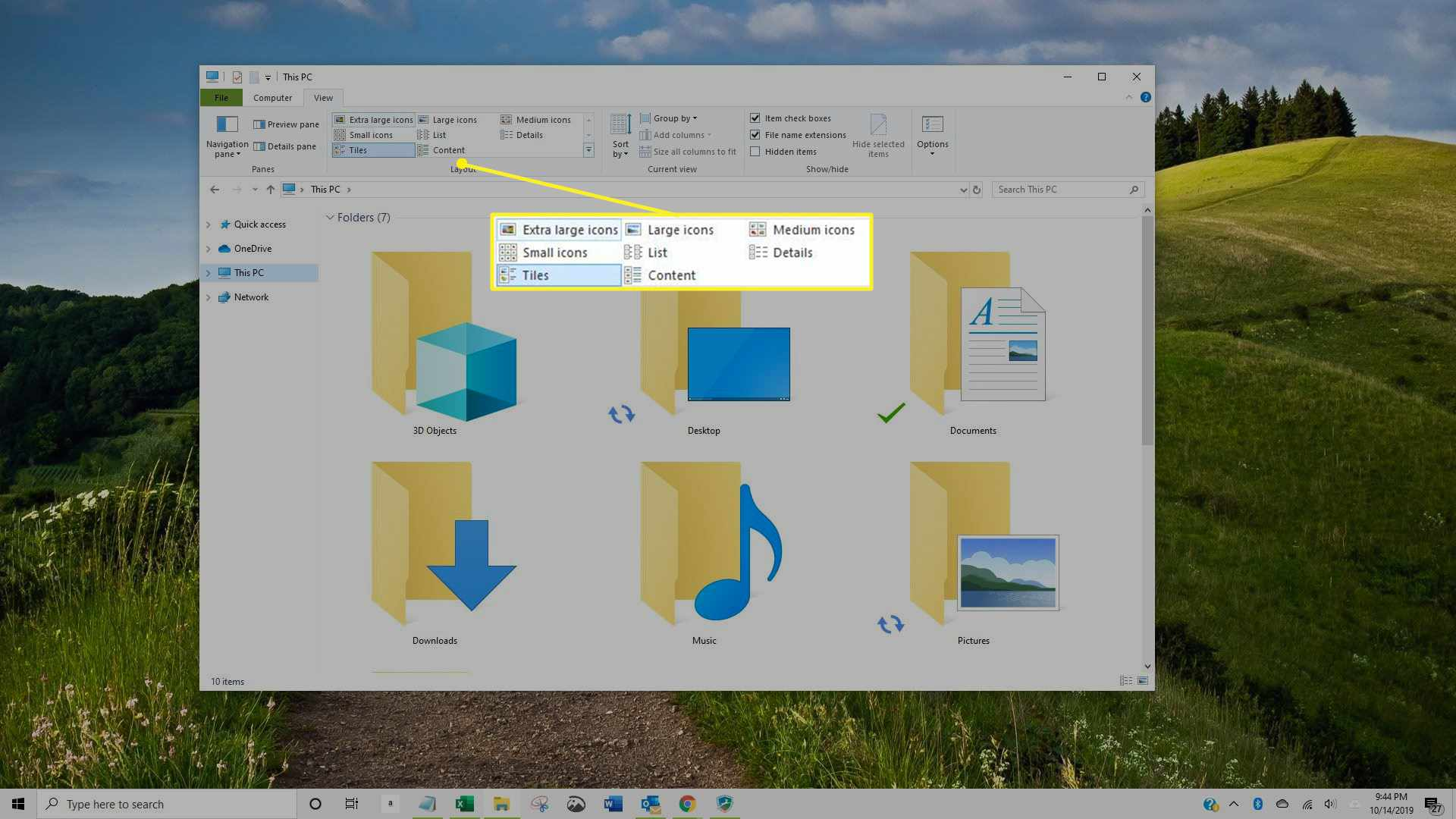 Options in the Layout section of Windows Explorer screen