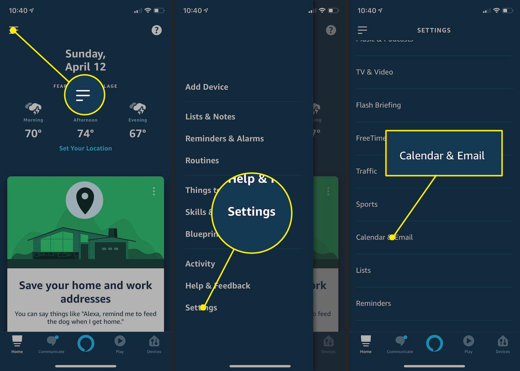 Locating Calendar settings in Alexa app on iPhone.