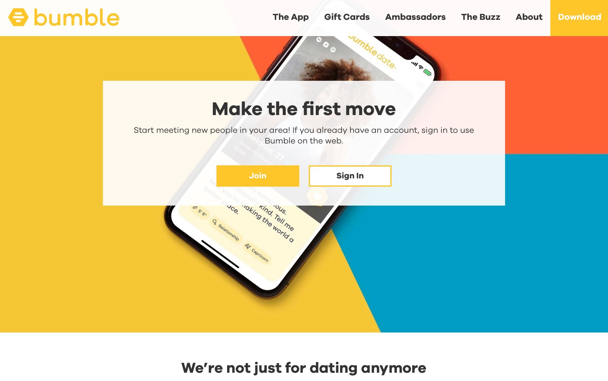 Bumble Join or Sign In screen