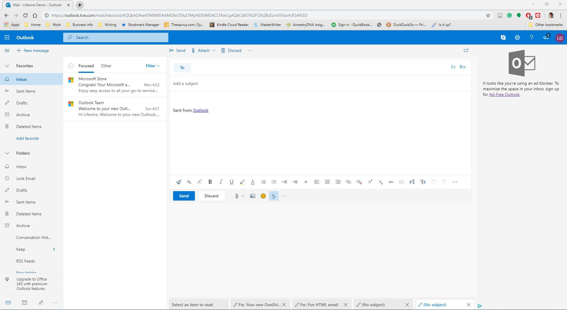 How to Send Plain Text Message in Outlook Mail on the Web