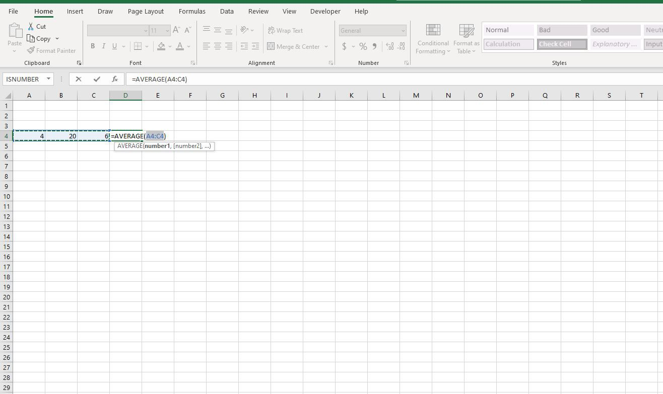 Cells A4:C4 selected in Excel.