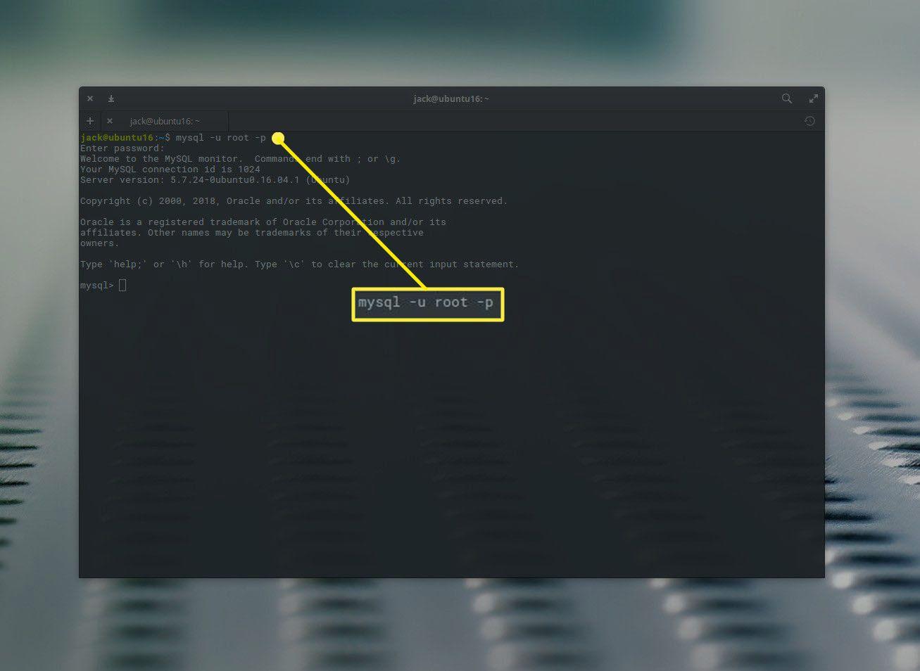 MySQL command prompt in Ubuntu